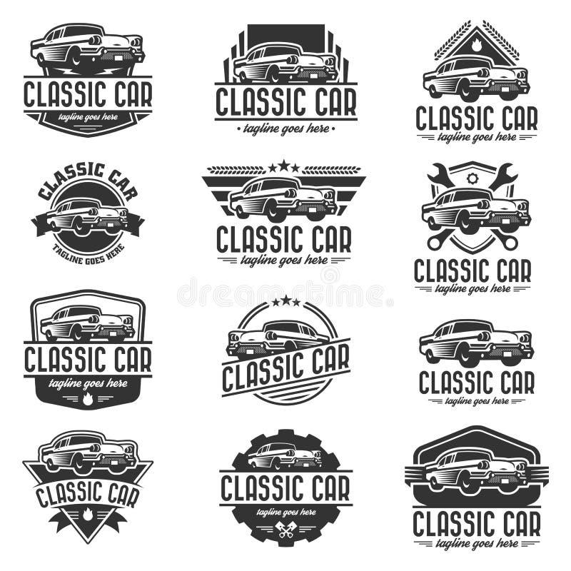 Klasyczny Samochodowy loga szablon, rocznika samochodowy logo, retro samochodowy logo ilustracji