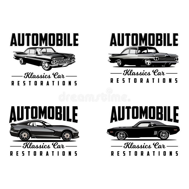 Klasyczny samochodowy przywrócenie loga wektor ilustracji