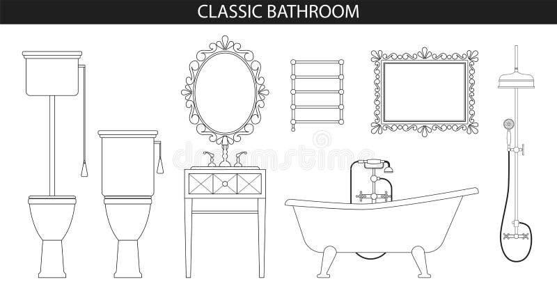 Klasyczny starego stylu meble dla łazienki ilustracja wektor