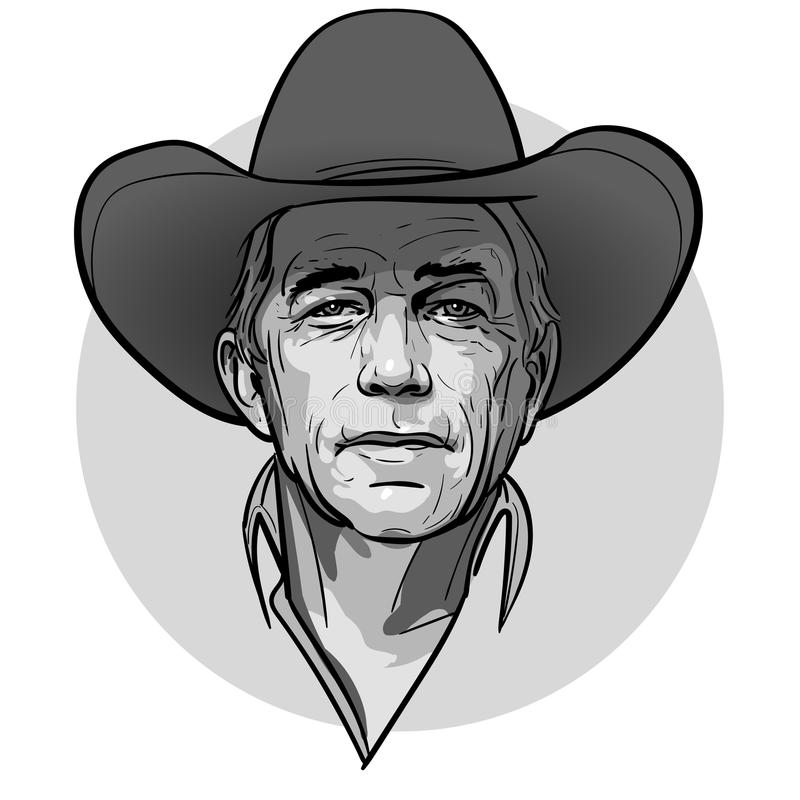 Klasyczny stary westernu stylu kowboj z kapeluszem i bandanami Kreskówki nakreślenia styl royalty ilustracja