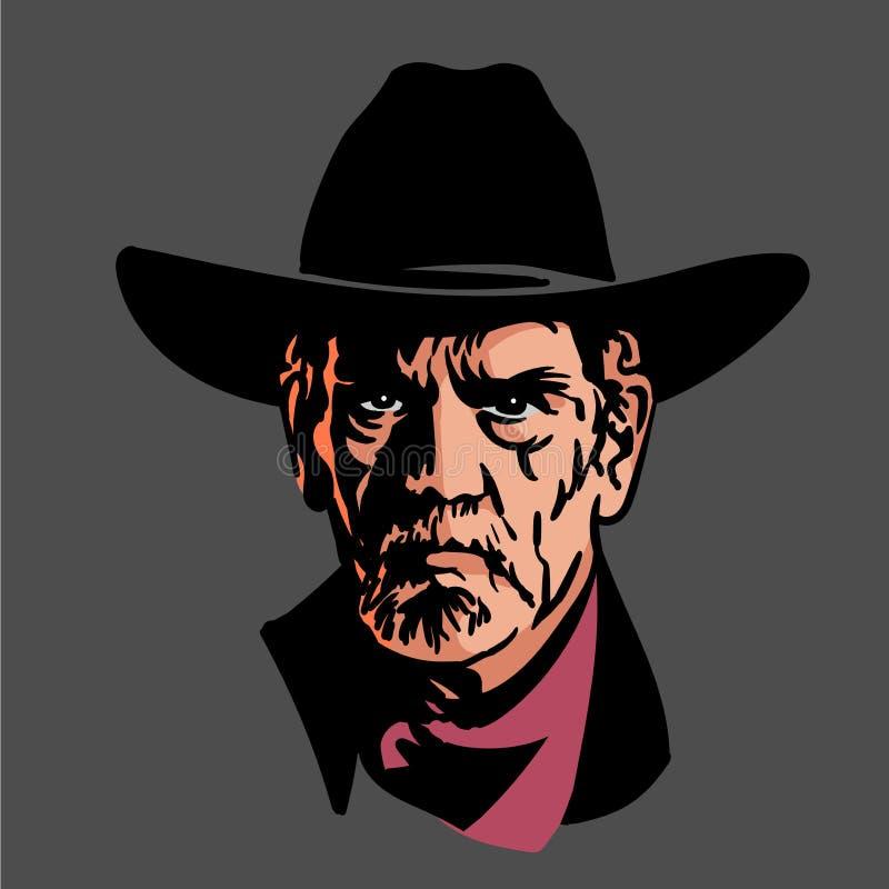 Klasyczny stary westernu stylu kowboj z kapeluszem i bandanami Kreskówki nakreślenia styl ilustracji
