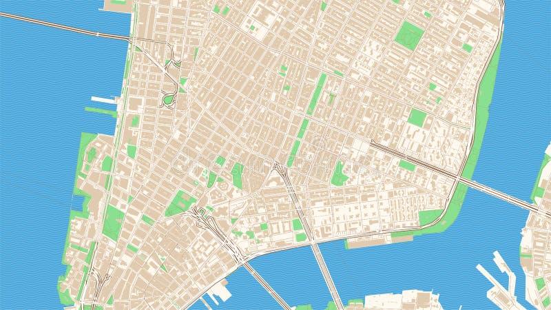 Klasyczny streetmap Manhattan, Miasto Nowy Jork ilustracji