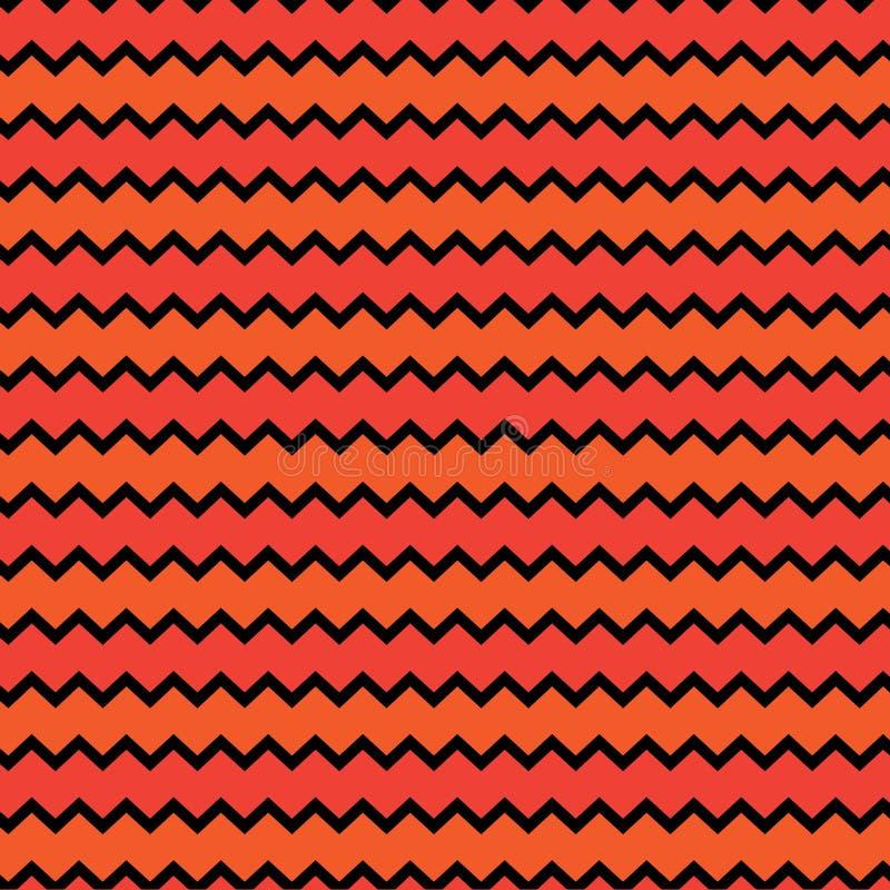 Klasyczny szewronu czerń i pomarańczowy bezszwowy zygzakowaty wzór wektor royalty ilustracja