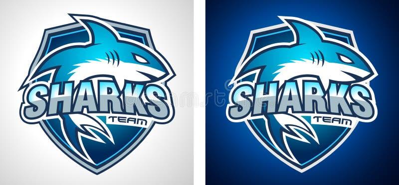 Klasyczny szkoły wyższa drużyny stylu rekinu loga projekt dla gatunek tożsamości, firma profil royalty ilustracja