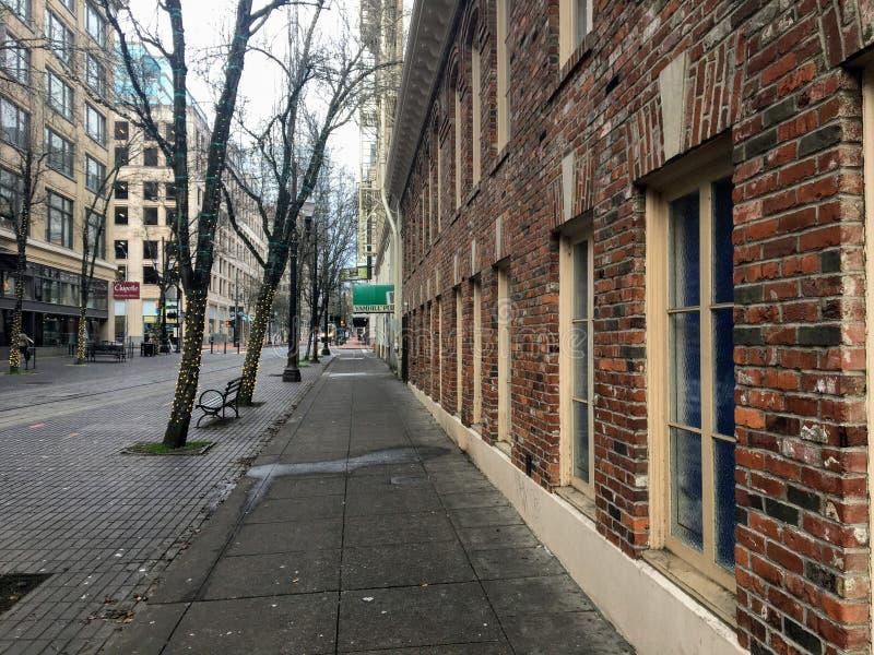 Klasyczny widok ulicy w centrum portland zdjęcie royalty free