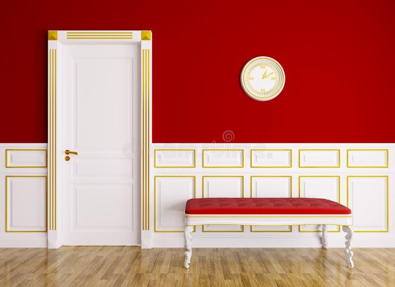 Klasyczny wnętrze z leżanką i drzwi royalty ilustracja
