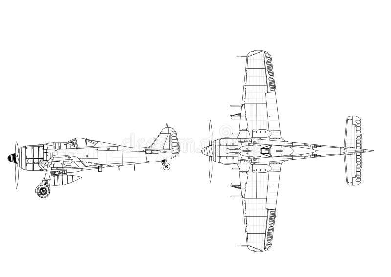 Klasyczny wojskowy hebluje projekt - odosobnionego ilustracja wektor