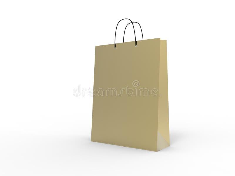 Klasyczny złocisty torba na zakupy, odizolowywający ilustracja 3 d ilustracji