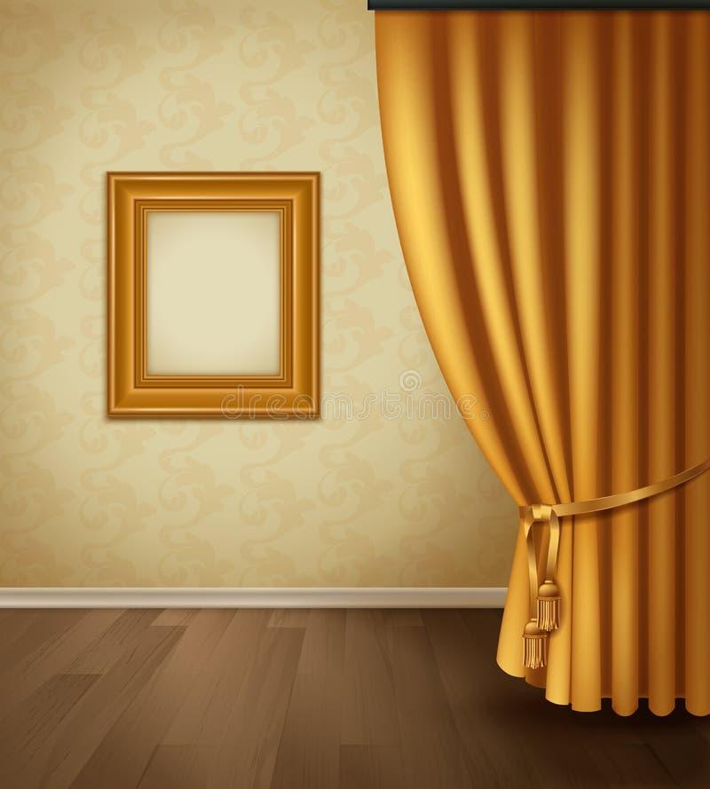 Klasyczny zasłony wnętrze royalty ilustracja