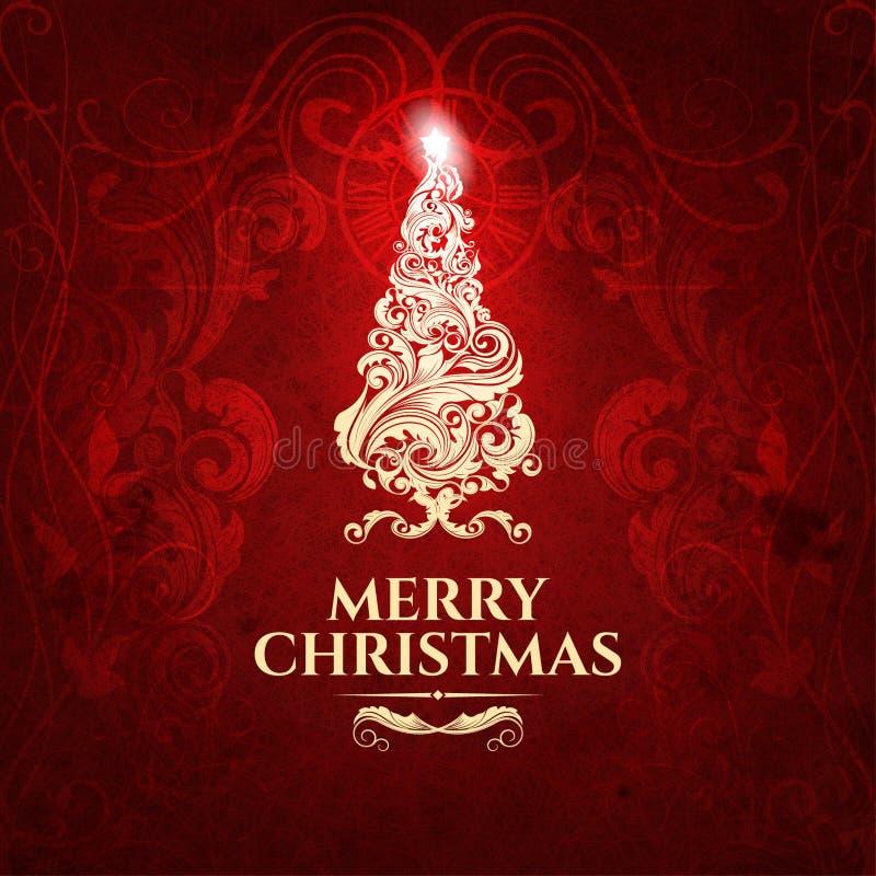 Klasyczny zmrok - czerwonej modnej premii elegancka Wesoło kartka bożonarodzeniowa ilustracji