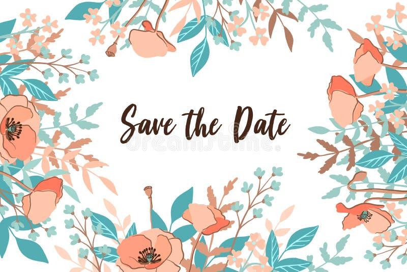 Klasyk i Refind ślub Oprócz Daktylowej karty z kwiatem obramiamy tło, ręka rysująca kwiecista element etykietka 10 tło projekta e royalty ilustracja