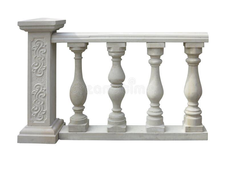 Klasyk kamienna balustrada z kolumną odizolowywającą nad bielem obraz royalty free