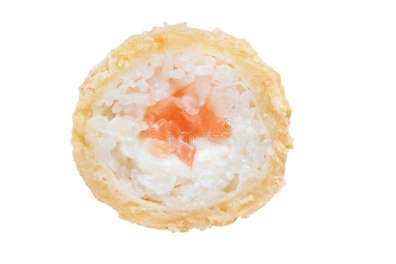 Klasyk piec rolkę z łososiowym i kremowym serem na białym tle obraz royalty free