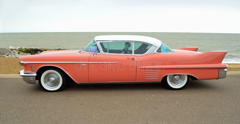 Klasyk Różowy Cadillac Coupe De Ville obraz royalty free