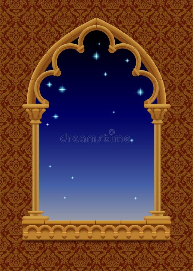 Klasyk rama w formie gothic dekoracyjny okno z gwiaździstym ni ilustracja wektor