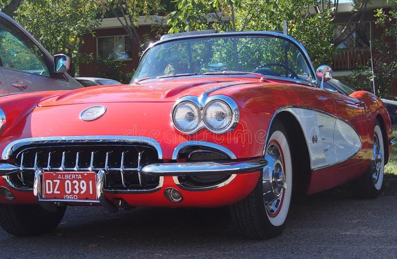 Klasyk Wznawiający Czerwony I Biały korweta kabriolet fotografia stock