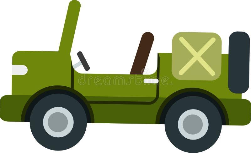 Klasyka dżipa zielony wektor na Białym Blackground ilustracja wektor