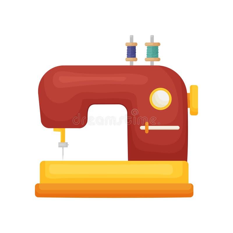 Klasyka model szwalna maszyna w czerwieni z dwa cewami odizolowywać na białym tle nić ilustracja wektor