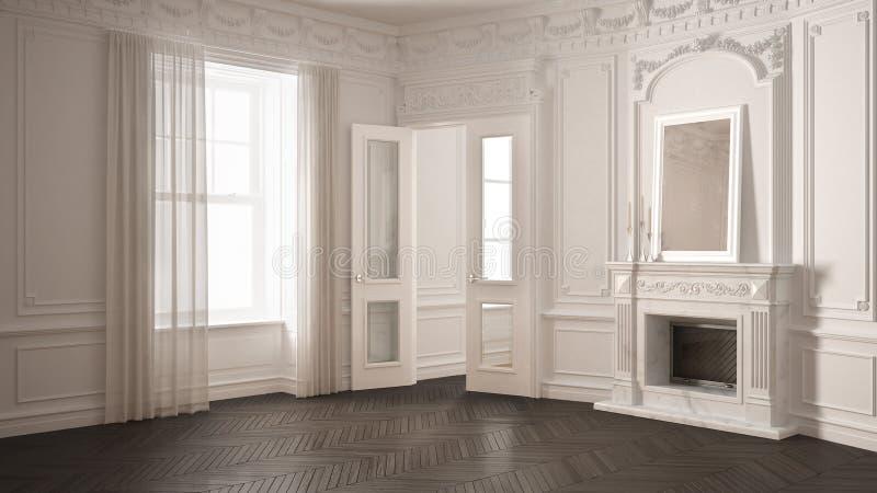 Klasyka pusty pokój z dużym okno, grabą i herringbone wo, ilustracja wektor