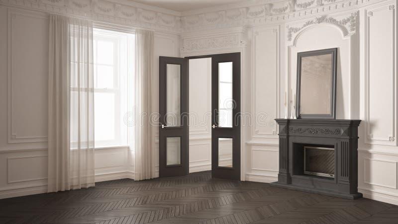 Klasyka pusty pokój z dużym okno, grabą i herringbone wo, royalty ilustracja