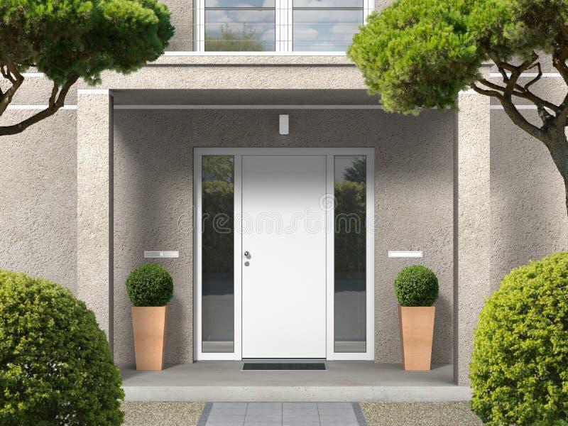 Klasyka stylu domu fasada z wejściowym portalem i dzwi wejściowy royalty ilustracja