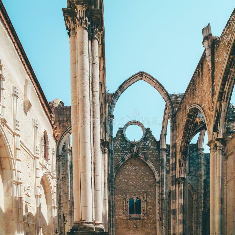 Klasztor Nasz dama góra Carmel Convento da Jest Gockim kościół rzymsko-katolicki Budującym W 1393 W Lisbon mieście Ordem ro obrazy stock