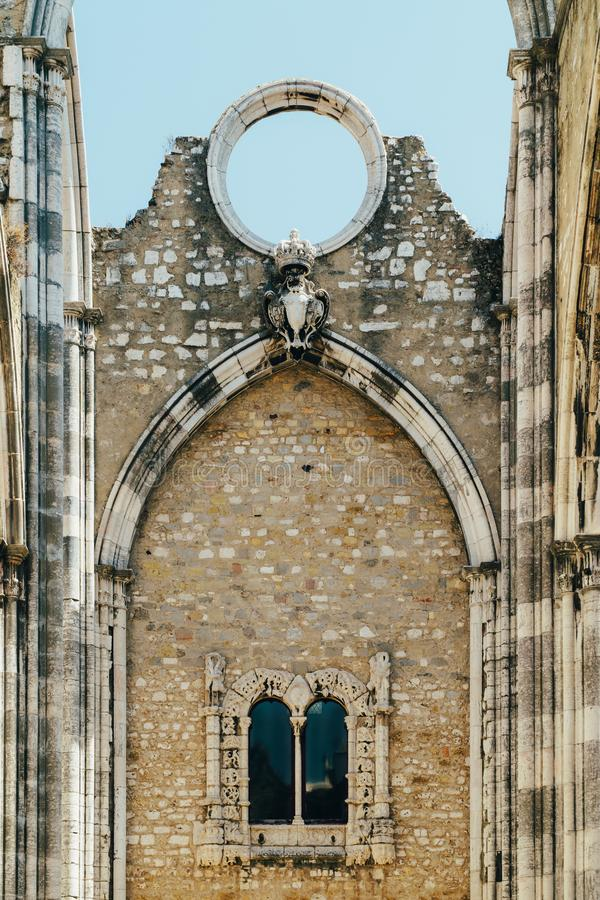 Klasztor Nasz dama góra Carmel Convento da Jest Gockim kościół rzymsko-katolicki Budującym W 1393 W Lisbon mieście Ordem ro obraz royalty free