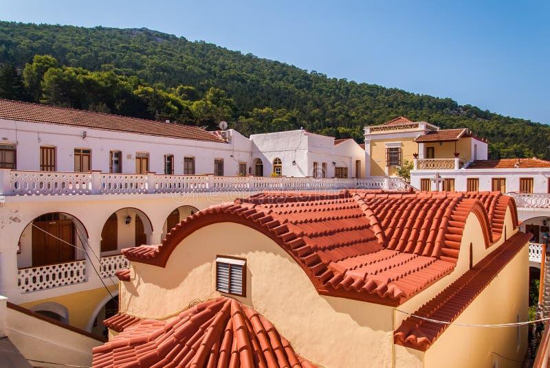 Klasztor Panormitis Symi fotografia stock
