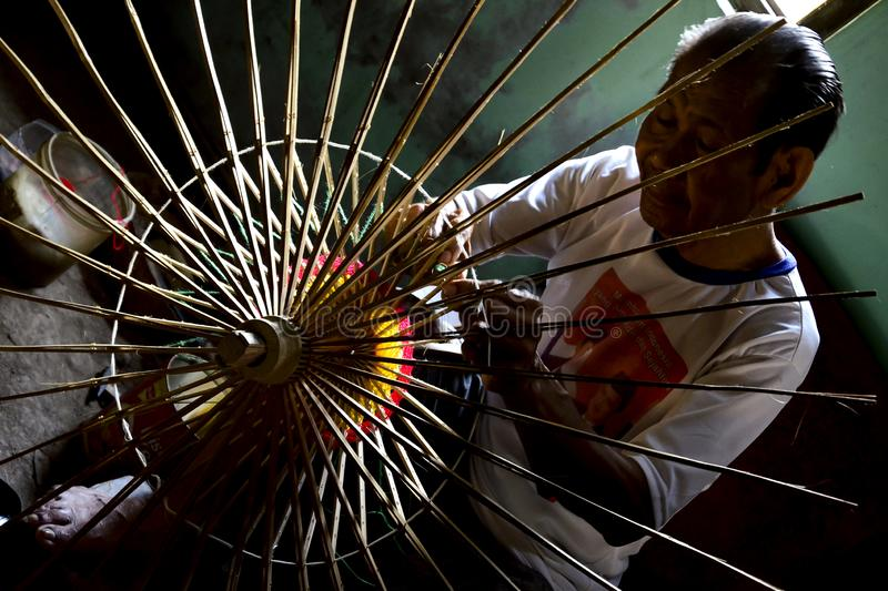 Klaten Indonesia. 15 June 2015. Activities of traditional umbrella makers from Juwiring Klaten Indonesia. The beautiful Klaten umbrella craft is known as the royalty free stock photos