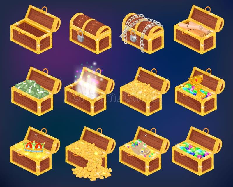 Klatka piersiowa skarbu wektorowy pudełko z złocistym pieniądze bogactwem lub drewniane pirat klatki piersiowe z złotymi monetami royalty ilustracja