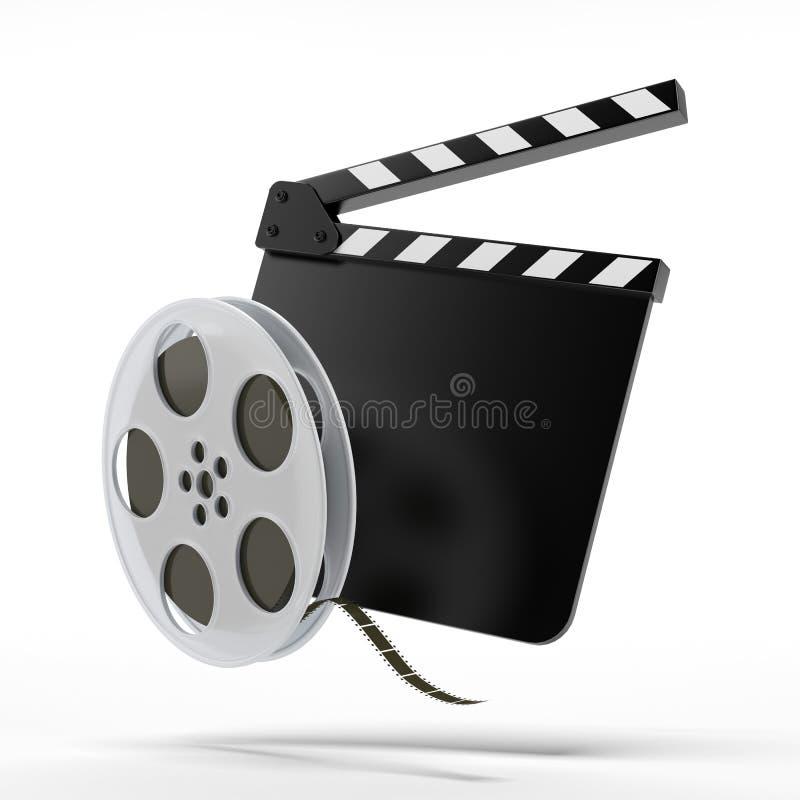 Klatschenbrett mit Filmrolle stock abbildung