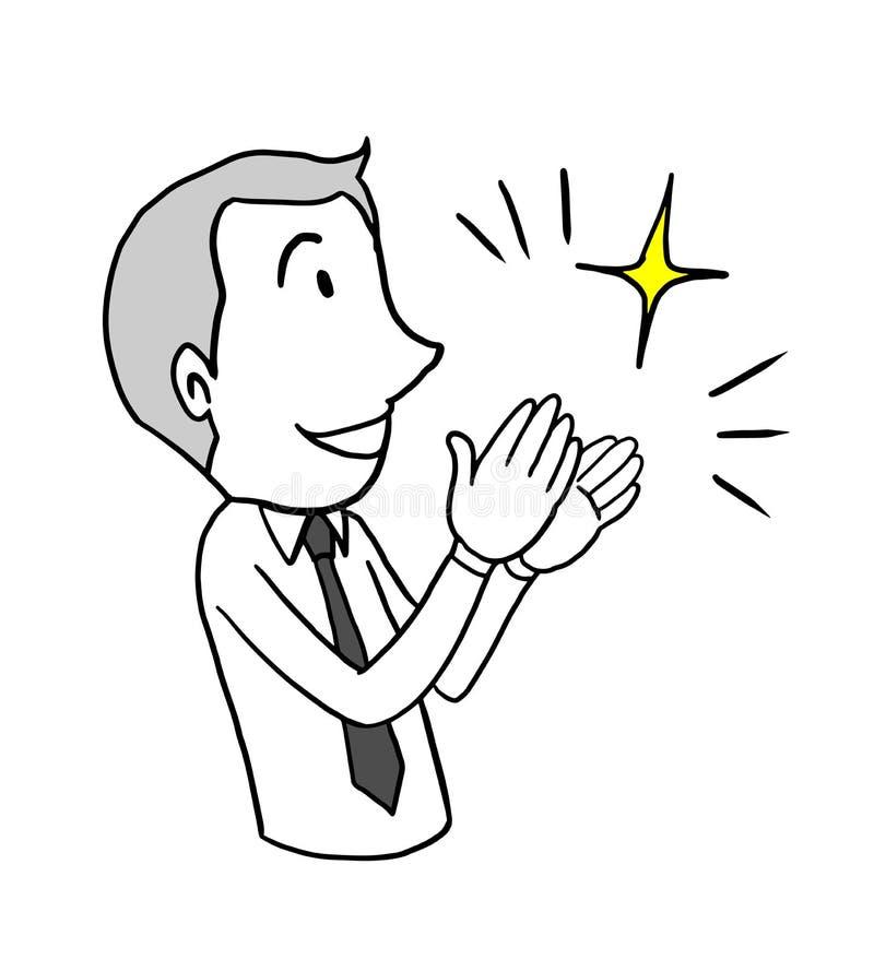 Klatschende Hand des Geschäftsmannes zum Feiern Glückwunschgeschäftskonzept lokalisiertes gezeichnetes Gekritzel des Vektorillust stock abbildung