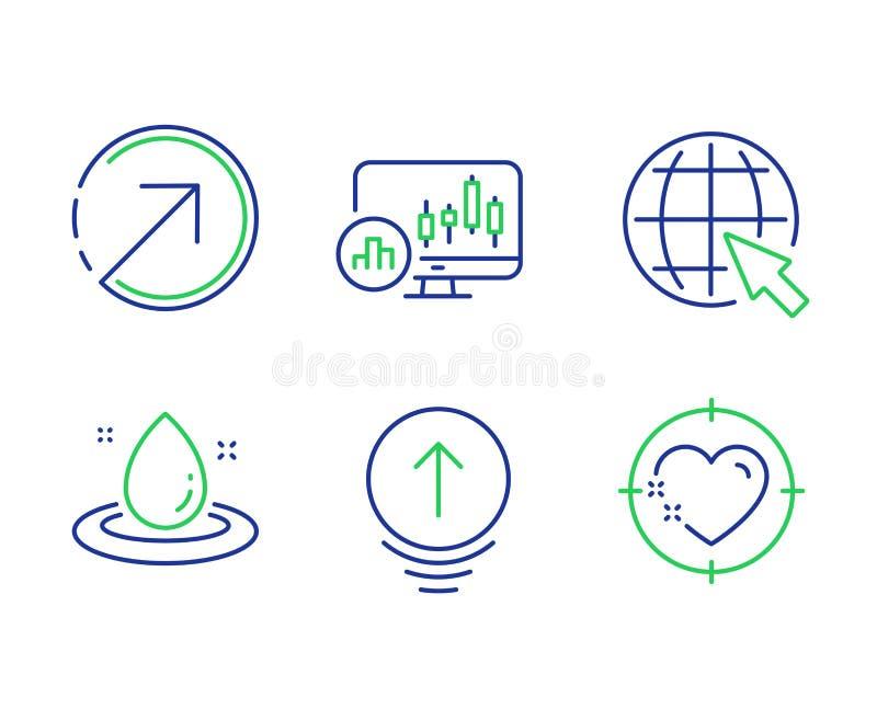 Klauen Sie oben, Brennstoffenergie und Richtungsikonensatz Internet-, Kerzenständerdiagramm und Herzzielzeichen Vektor lizenzfreie abbildung