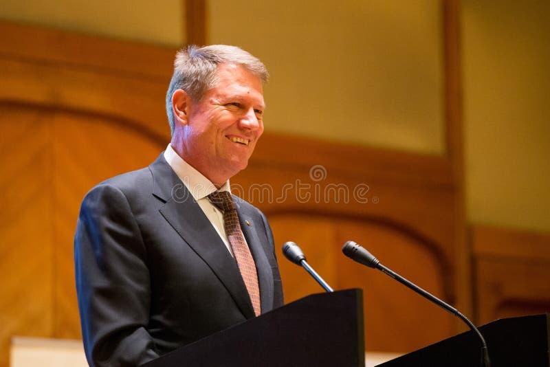 Klaus Johannis, president of Romania, smiling stock photos