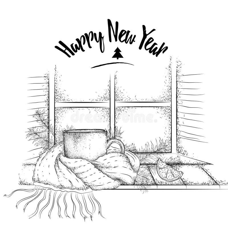 klaus santa för frost för påsekortjul sky Tappning skissar av koppsammanträde på en fönsterbräda i en halsduk, och granen förgren royaltyfri illustrationer