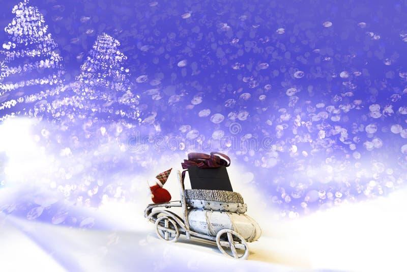 klaus santa för frost för påsekortjul sky Santa Claus i bilen royaltyfria foton