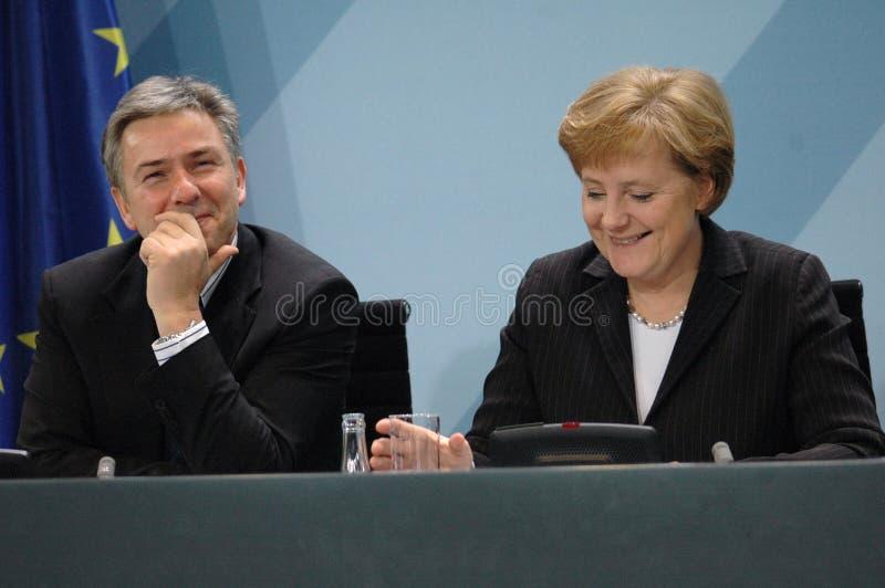 Klaus Wowereit, Angela Merkel lizenzfreies stockbild