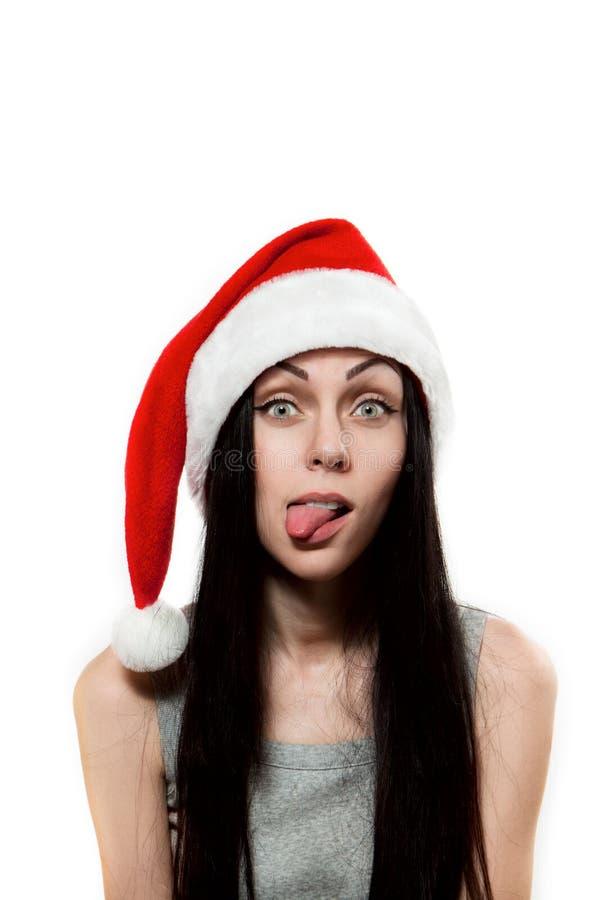 klauzula dziewczyny kapeluszu jeden stawiający s Santa jęzor fotografia stock