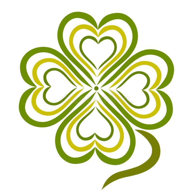 Klaver met vier bladeren in de vorm van een hart stock illustratie
