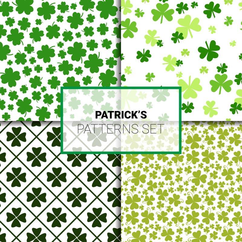 Klaver Naadloze Patronen Geplaatst Creatieve Klaverachtergrond voor de Dagvakantie van Heilige Patricks royalty-vrije illustratie