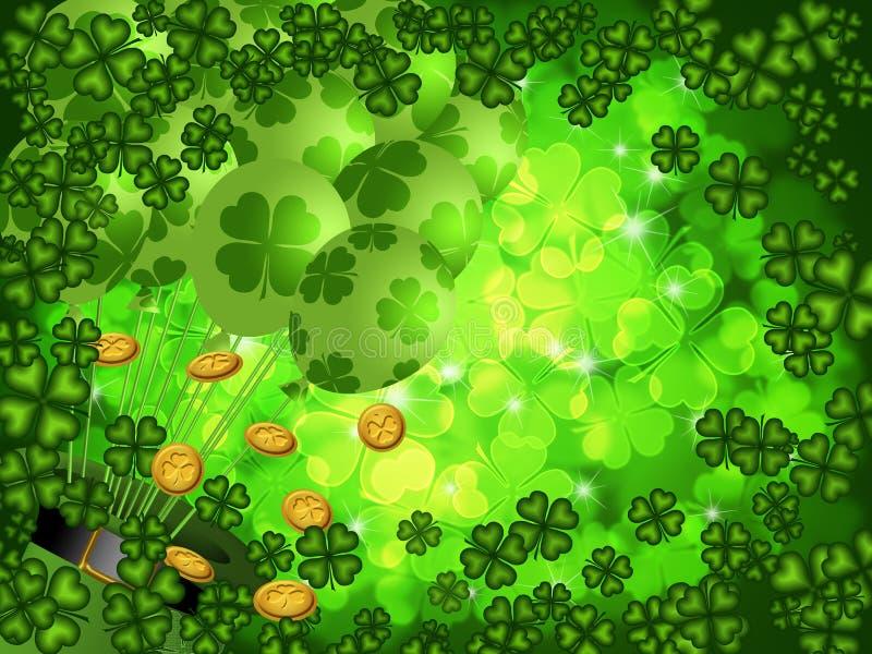 Klaver Vier de Achtergrond van de Klaver van het Blad met Ballons stock illustratie