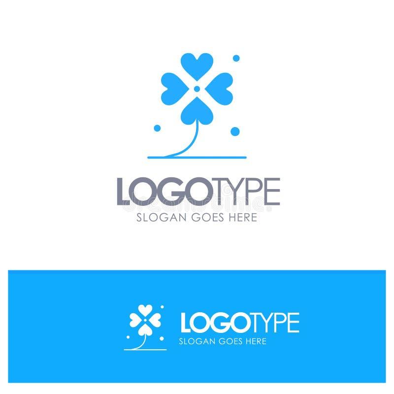 Klaver, Vier, Ierland, het Iers, Lucky Blue Solid Logo met plaats voor tagline stock illustratie