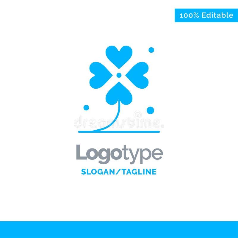 Klaver, Vier, Ierland, het Iers, Lucky Blue Solid Logo Template Plaats voor Tagline royalty-vrije illustratie