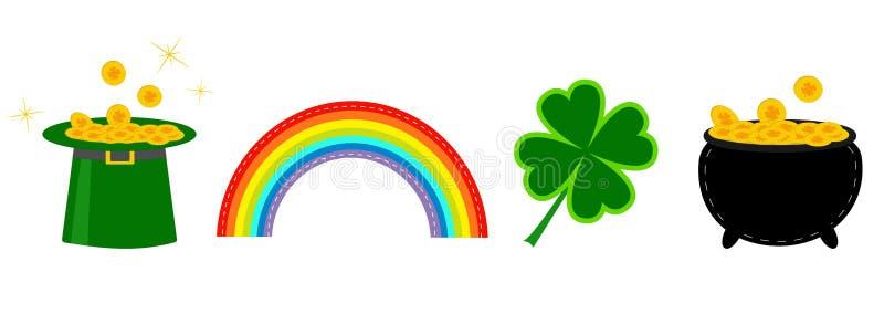Klaverblad, pot met geld, groene hoed en regenboog St Patrick pictogram vastgestelde lijn Vlak Ontwerp Witte achtergrond Geïsolee vector illustratie