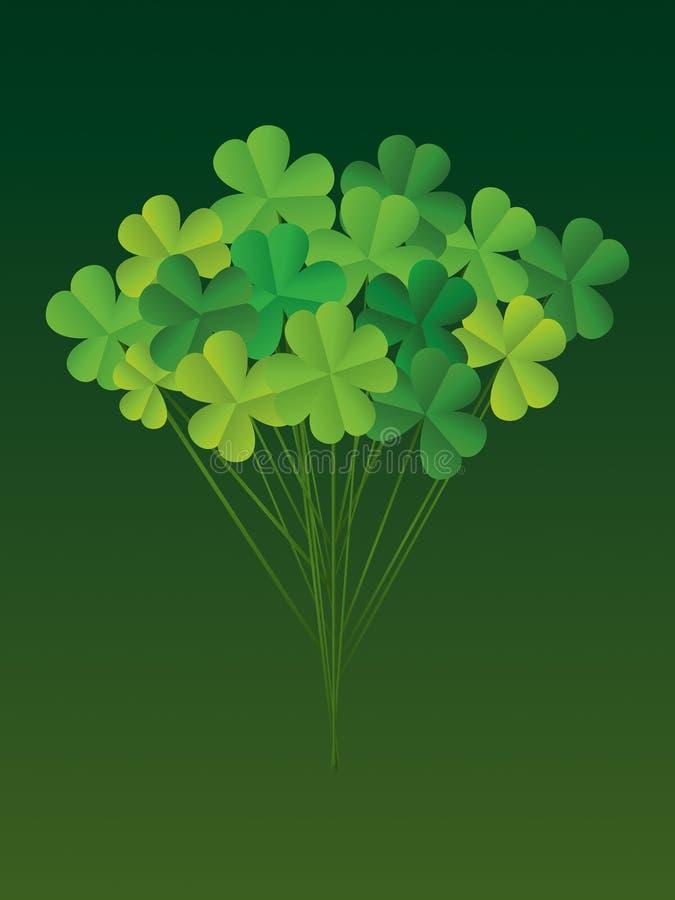 Klaverboeket op stokken Groetkaart op St Patrick ` s Dag vector illustratie
