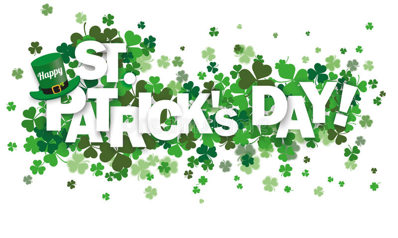 Klavers Gelukkige St Patrick stock illustratie