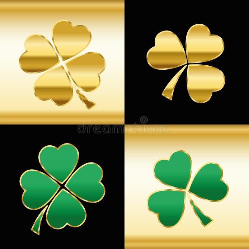 Klavers Gouden Groen Zwart Patroon stock illustratie