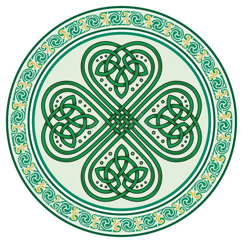 Klavertjevier Iers symbool in In Keltische stijl voor het feest van St Patrick royalty-vrije illustratie
