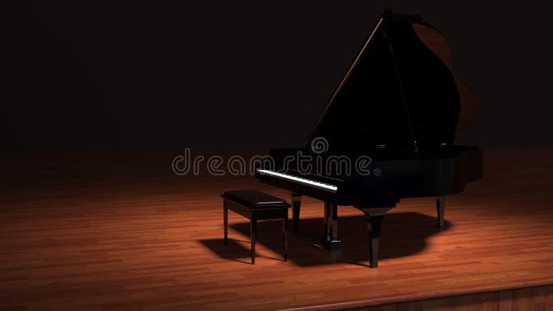 Klavier im Scheinwerfer stockfoto