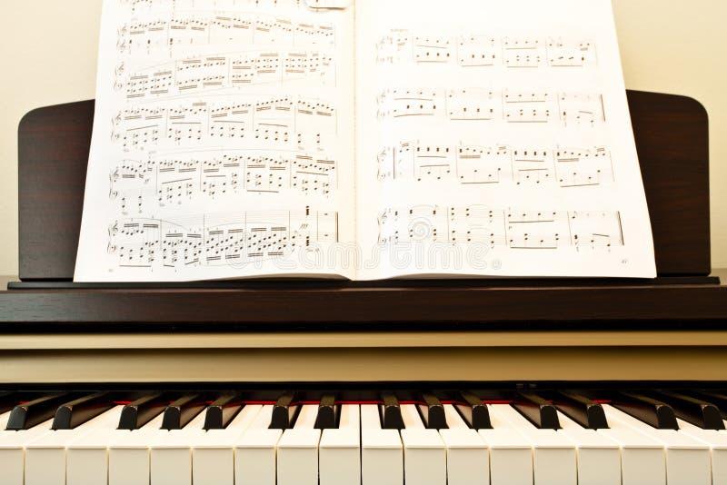 Klavier und Musikpapier lizenzfreie stockfotografie